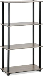Furinno (99557GYW/BK) Turn-N-Tube 4-Tier Multipurpose Shelf Display Rack – French..
