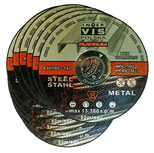 Lot de 10 disques à tronçonner pour acier, métal, acier inoxydable 115 x 1,0 x 22,23 mm T41 Inter Vis Platinum