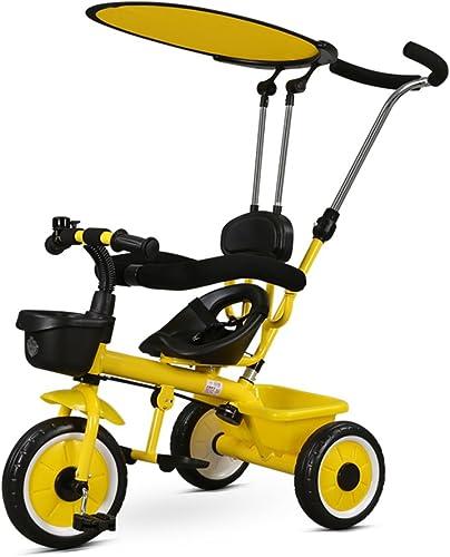 HAIZHEN Kinderwagen 4-in-1 Kinderwagen und Kinder Trike Blau Rot Weiß Gelb Für Neugeborene (Farbe   Gelb)