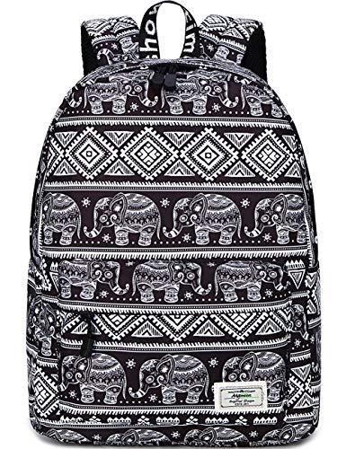 Mygreen Fashion Leisure Backpack for Girls Teenage School Backpack Women Print Backpack Purse Elephant Black