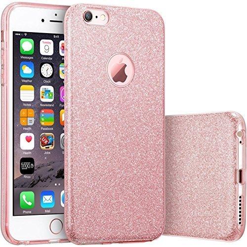 HQ-CLOUD® Housse étui Coque Gel en Silicone Paillette Bling Bling pour Apple iPhone 6 /6S Rose Brillant