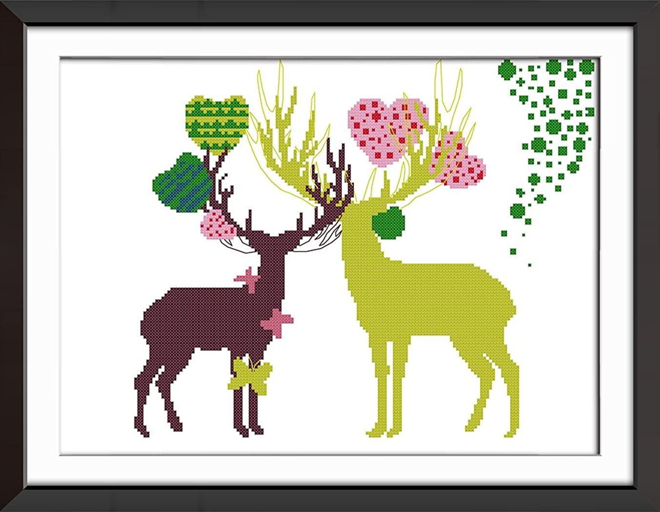 "Stamped Cross Stitch Starter Kits Printed Pattern - Abstract Painting Deer 20.5"" x 15.7"", Embroidery Art Cross-Stitching Christmas Gift, Without Frame"