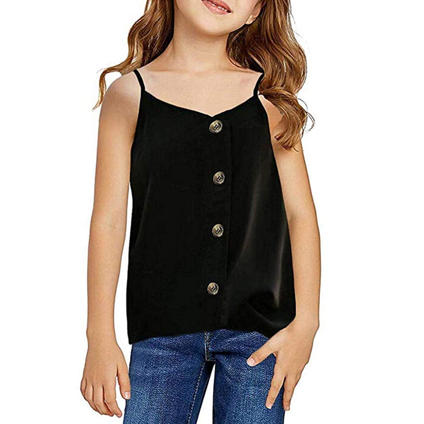 WUAI Tank Tops for Baby Girls, Kids Casual Sleeveless Ribbed Seamless Button Vests Summer Cami Tops Blouse
