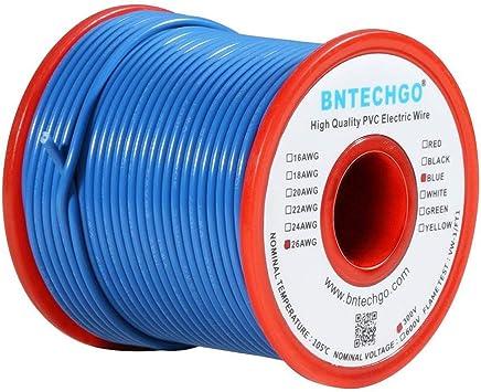 Cable el/éctrico BNTECHGO 26 AWG 1007 cable trenzado de 300 V alambre de cobre esta/ñado negro PVC 1007 calibre 26 50 pies por carrete para bricolaje