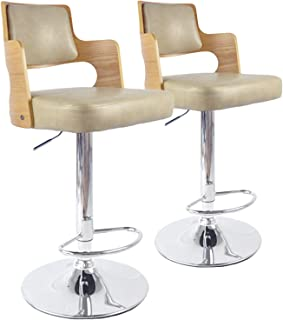 Menzzo Lot de 2 chaises de Bar Russel Chêne Clair & Crème, Cuir, Clair/Crème, 46x44x88 cm