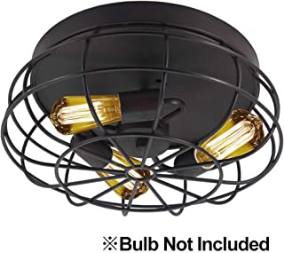 Semi Flush Mount Ceiling Light Fixtures,Industrial Rustic Metal Cage Kitchen Light Fixture for Hallway Bedroom Farmhouse(Bulbs not Included)
