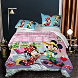 Mickey Minnie Mouse Comforter Set Quilt Set for Kids Boys Girls Teens Mickey Mouse Comforter Set Bedspread for Full Bed Christmas