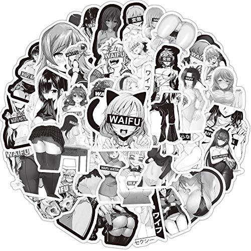 Huayao 50pcs Waifu Stickers, Anime Sexy Aufkleber für Erwachsene, heiße und sexy Bomb Pinup Girls, Dekorieren Laptop, Auto, Wasserflasche, Skateboard