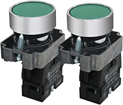 mxuteuk 2pcs HB2-BA31-GG 1 NO 22mm Green Momentary Push Button Switch 660V 10A SPST,1 Year Warranty