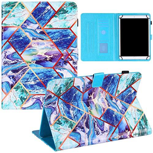 ZOOMALL Funda tipo libro para tablet de 9 a 10 pulgadas, con soporte para lápices delgado, para tablet universal de 7,5 a 8,5 pulgadas, rejilla de mármol, azul/verde