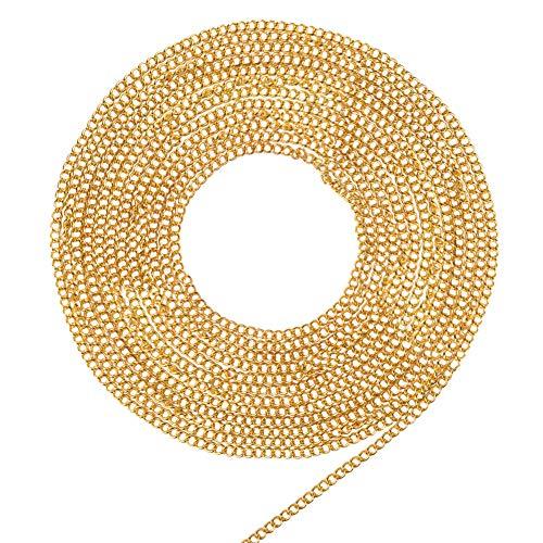 PandaHall Elite- 5m Chaîne de Câble en Laiton Chaîne de Bracelet de Collier en Or pour la Création de Bijoux