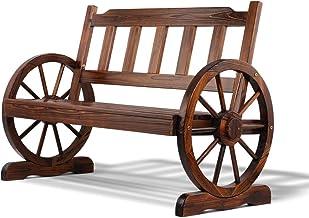 Gardeon Wooden Wheel Garden Bench Chair Outdoor Patio Furniture