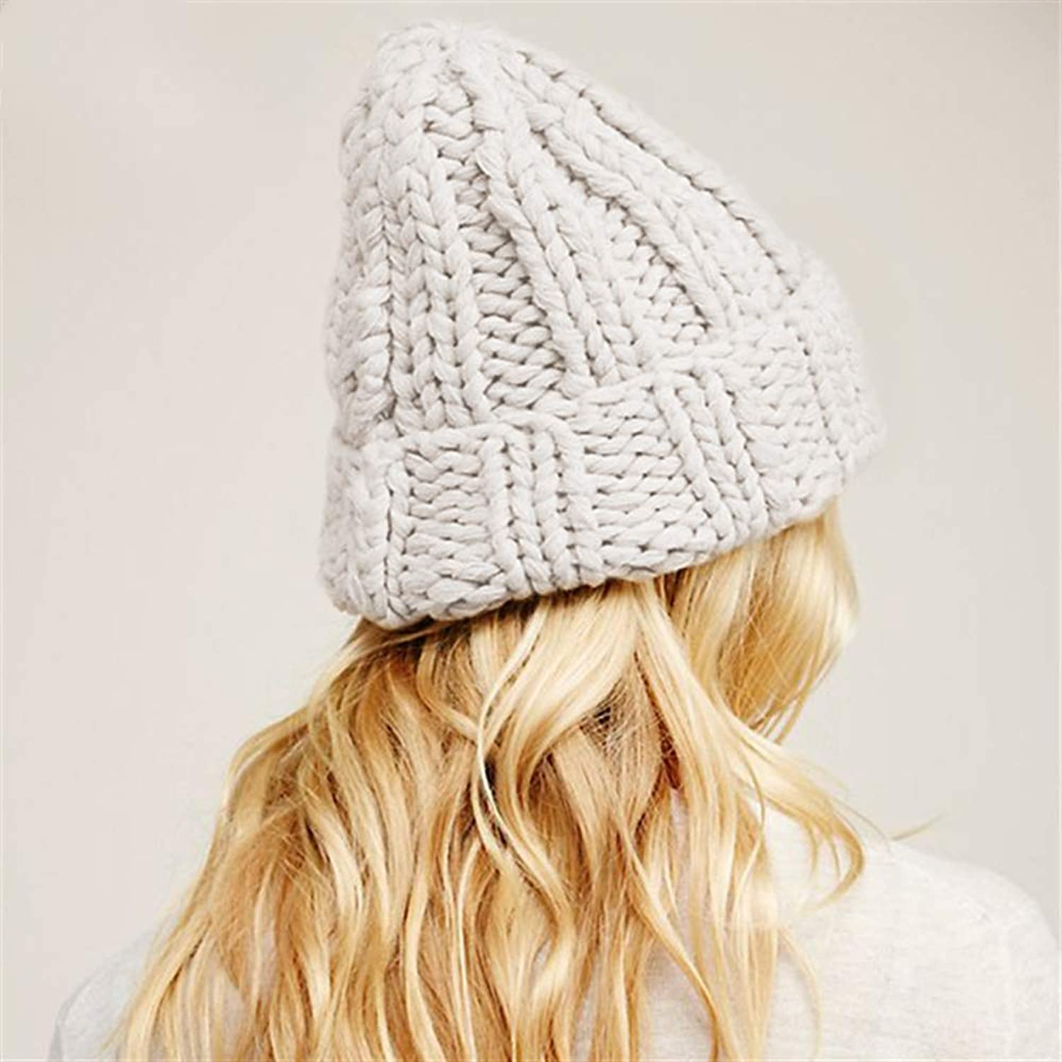 Causal Winter Knitted Hats Women Keep Warm Manual Wool Knitted Earmuffs Soft Hats Girls Caps Female,C