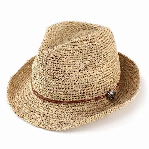 中折れハット 麦わら帽子 ラフィアハット ナチュラル コンチョ 革紐 夏 大きいサイズ ベージュ 60cm