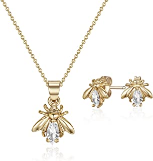 Mestige Gold Plated Crystals Firefly Jewelry Set - 2 Pieces, MSSE3256