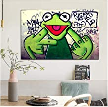 DNJKSA Street Graffiti Art Frog Kermit Finger Poster Print Canvas Painting Animal Oil Painting Wall Pictures for Living Room/60x95cm-No Frame