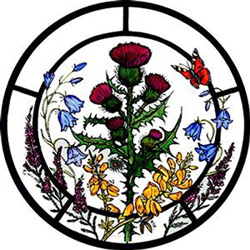 Fensterdekoration aus Buntglas, statisch haftend, schottische Blumen