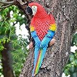 EMVANV Garten Papagei Deko, Kunstharz Lebensecht Deko Papagei Spielzeug Vögel Tier Modell Kunst Handwerk Deko Wanddekoration für Heim Garten Tree - Red-2#, Einheitsgröße