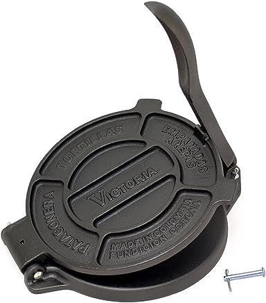 Victoria 8 inch Cast Iron Tortilla Press and Pataconera, Original Made in Colombia, Seasoned
