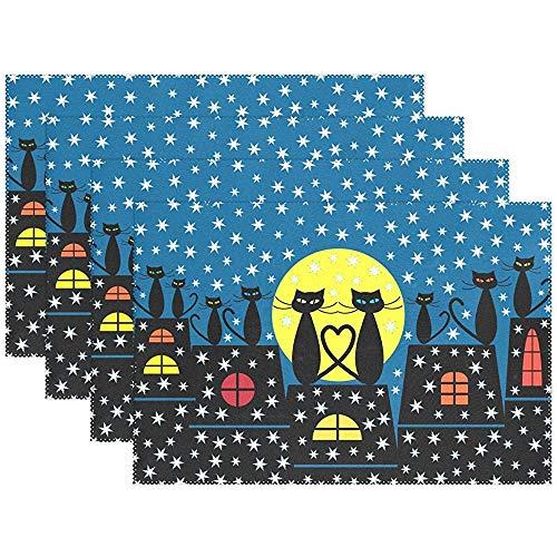 place mats Hiver Chats Assis sur Le Toit Chute De Neige Napperons 12 x 18 po (30 * 45 cm), Tapis De Table Lavables Résistant À La Chaleur pour Le Potager De Jardin