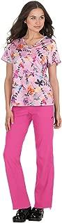 Lite Women's Nima Crossover V-Neck Floral Print Scrub Top Large Print