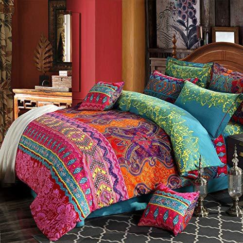 Omela Bettwäsche Boho 200x220 3 Teilig Exotisch Indisch Design Bohemian Bettbezug mit Reißverschluss Hohe Qualität Mikrofaser Deckenbezug und Kissenbezüge 80x80 cm