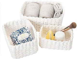 Lot de 3 paniers de rangement pour étagères, corbeille de papier recyclé, boîte de rangement pour maquillage, jouets, tiro...