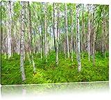 Birkenwald Pinsel Effekt, Format: 120x80 auf Leinwand, XXL riesige Bilder fertig gerahmt mit Keilrahmen, Kunstdruck auf Wandbild mit Rahmen, günstiger als Gemälde oder Ölbild, kein Poster oder Plakat