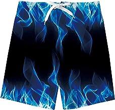 uideazone Teens Boys Swimwear Colorful Smoke Printed Swim Trunks Board Short Swimwear for Beach Party Vacation Black Blue