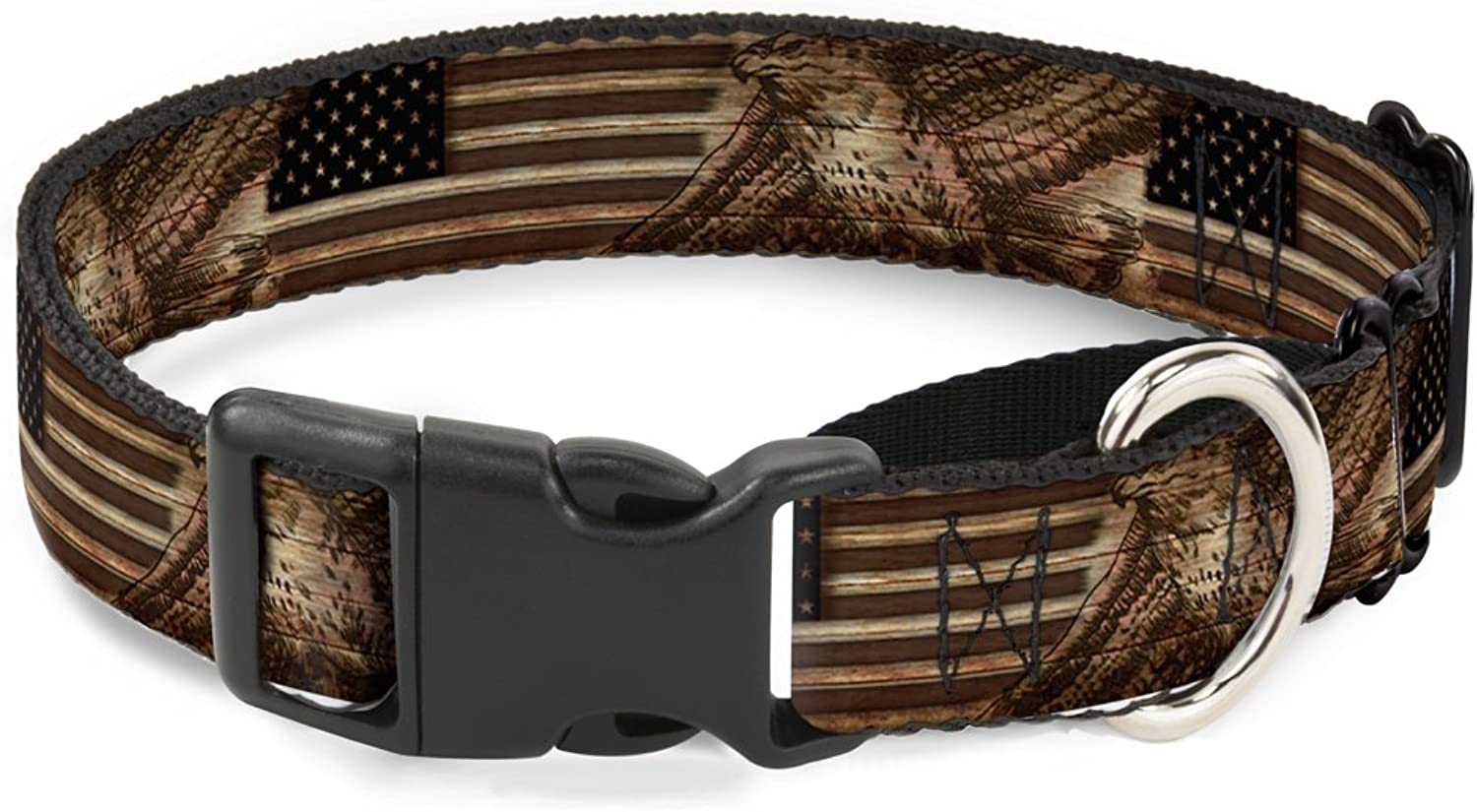 BuckleDown Americana Eagle & Flag Rustic Wood Grain Martingale Dog Collar, 1  WideFits 915  NeckSmall