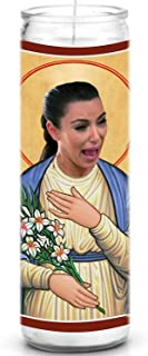 Crying Kim Kardashian Celebrity Prayer Candle - Funny Saint Candle - 8 inch Glass Prayer Votive - 100% Handmade in USA - Novelty Celebrity Gift