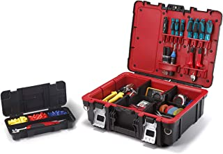 Keter 241111 Technician Case Tool Storage Box with Strap, Black/Red