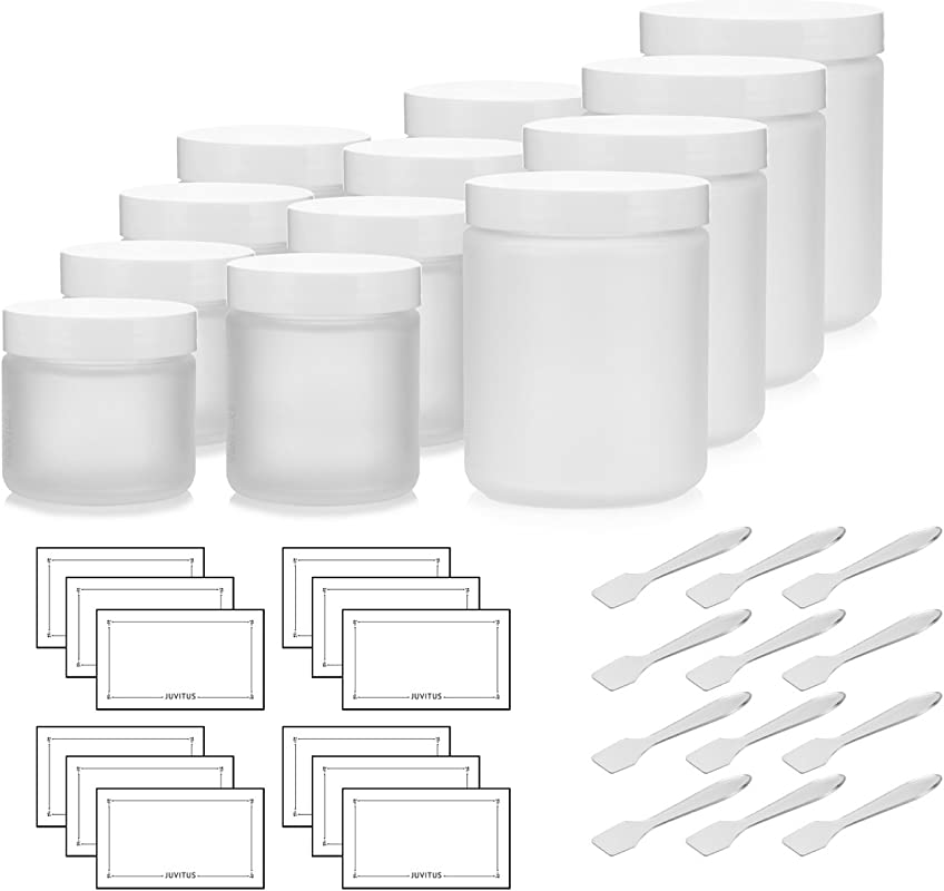 12 Piece Frosted Glass Straight Sided Jar Starter Kit Set With White Lids Includes 4 2 Oz Frosted Glass Jars 4 4 Oz Frosted Glass Jars 4 8 Oz Frosted Glass Jars Spatulas And Labels