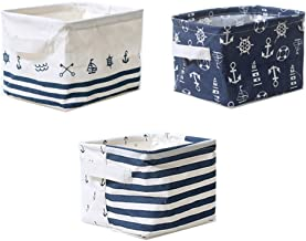 Lannu Nautical Fabric Storage Baskets Bins Cloth Collapsible Organizers Box Beach Anchor Nursery Toys Basket Shelves & Des...