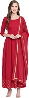 Stylum Women's Gold Print Rayon Flared Kurta with Dupatta (Maroon)