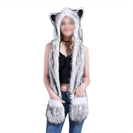 Rabbit Hoodie Faux Fur Hood 3 in 1 Warm Hat with Scarfs Mittens Ears Paws