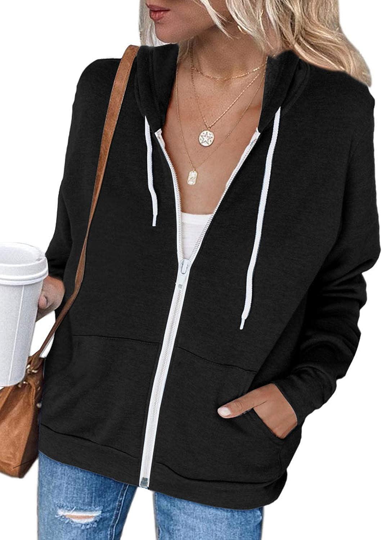 luvamia Womens Casual Hooded Sweatshirts Zip Up Long Sleeve Athletic Tops Shirts