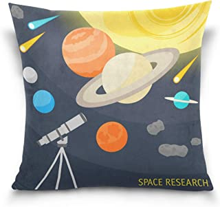 COOSUN Space Objects and Telescope Throw Pillow Cover Cases Linen Home Decorative Zipper Throw Pillow Case for Sofa Couch,...