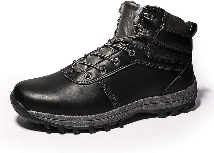 YAN Hommes Chaussures en Microfibre Hiver Nouveau Haut-Top Décontracté Chaussures De Mode Bottes De Neige Chaudes Bottes De Coton Lacet Jusqu'à Chaussures De Randonnée Chaussures Quotidiennes,noir,42