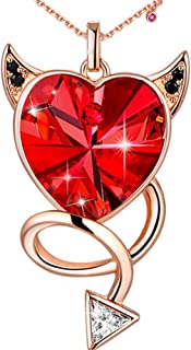 Red Evil Love Heart Pendant Necklace Embellished with Crystals from Swarovski Gift for Women