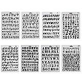 Sinblue 8 Stück Bullet Journal Zeichnung Schablone Template Set Kunststoff-Planer-Schablonen mit Buchstaben Nummer Alphabet für Notebook Tagebuch Sammelalbum Graffiti Karte...