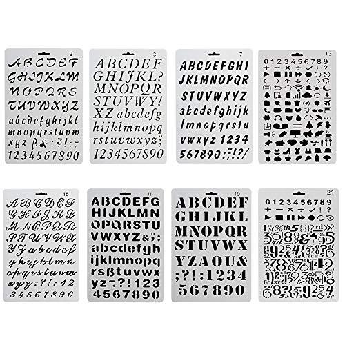 Sinblue 8 Stück Bullet Journal Zeichnung Schablone Template Set Kunststoff-Planer-Schablonen mit Buchstaben Nummer Alphabet für Notebook Tagebuch Sammelalbum Graffiti Karte DIY-Malerei-Bastelprojekte