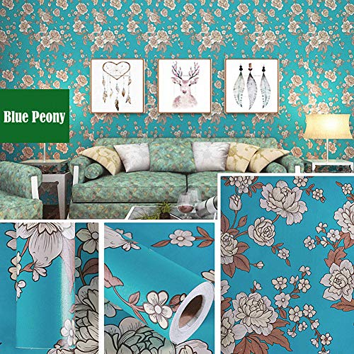 LIFAVOVY Retro Peony Peel and Stick Wallpaper Decorative Contact Paper Floral Removable Self Adhesive Shelf Liner Roll 17.7' x 393'