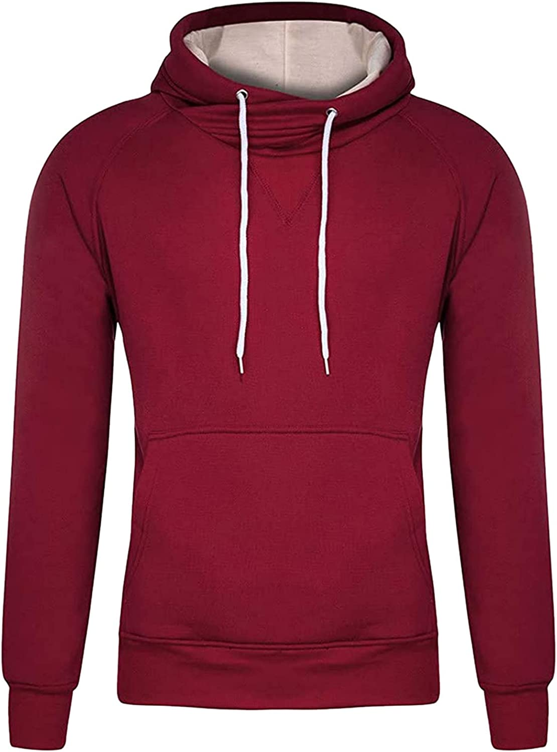 HONGJ Hoodies for Mens, Drawstring Cowl Neck Hooded Sweatshirts Color Block Patchwork Sports Workout Casual Pullover