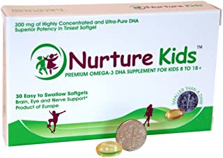 Nurture Kids - High Concentration Pure Omega 3 DHA for Children 8 Years+ - 30 Tiny Softgels for Their Growing Brain, Healt...