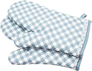 Voarge 1 para pogrubionych rękawic kuchennych, odporne na wysokie temperatury, antypoślizgowe, bawełniane, kratki w stylu ...