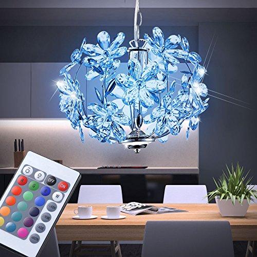 7W LED RGB Decken Leuchte Pendel Lampe Blüten Design Chrom Acryl Farbwechsler Fernbedienung