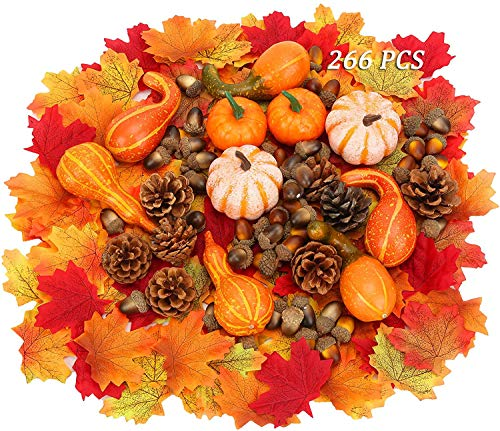 266 pcs thanksgiving decoration Mini künstliche Kürbisse Tannenzapfen Herbstblätter Eicheln für Herbst Party Dekorationen, Herbst Dekoration Kit Halloween Thanksgiving Party