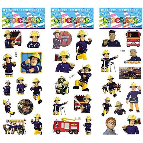 BLOUR 6 Blätter/Set Cartoon Feuerwehrmann Sam Aufkleber Scrapbooking für Kinderzimmer Wohnkultur Tagebuch Notizbuch Etikett Spielzeug 3D Aufkleber