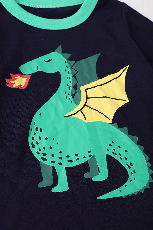 ALI SEA Boys Cotton Long Sleeve Dinosaur T-Shirt Boys' Activewear 3 Pack 2-7 Years